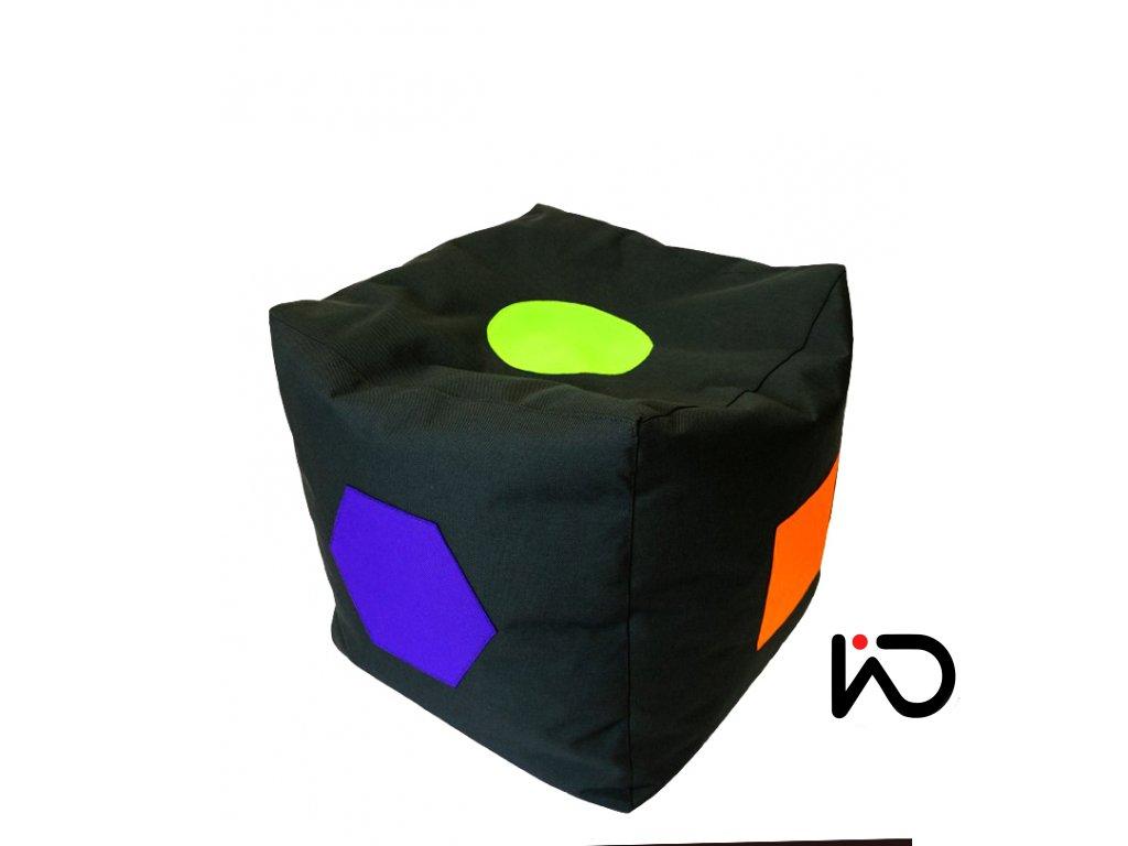 Sedací vak - Kostka černá- Barevné geometrické tvary