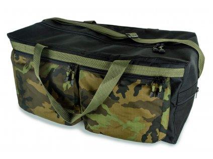 Cestovní taška černá s maskáčovými kapsami
