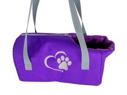 prepravni taska pro psa srdce s tlapkou 001