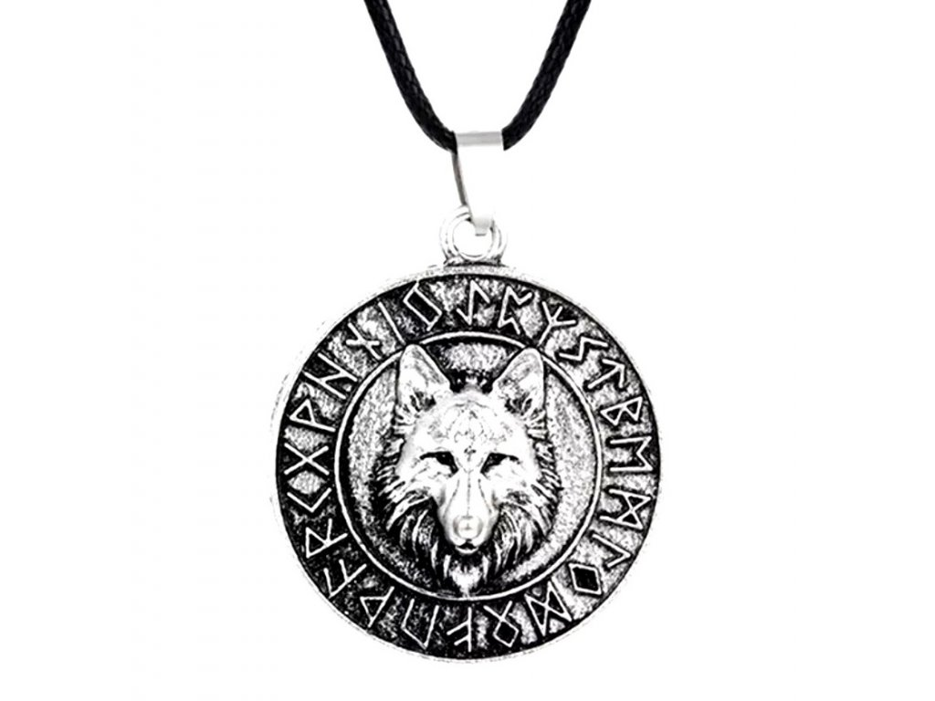 42564 warrior factory privesek wolf in runic circle silver