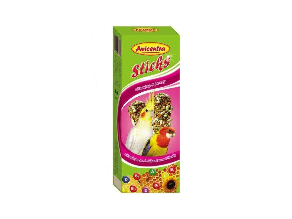 Avicentra tyčinky pro malé papoušky 110g vitamín+med 2ks