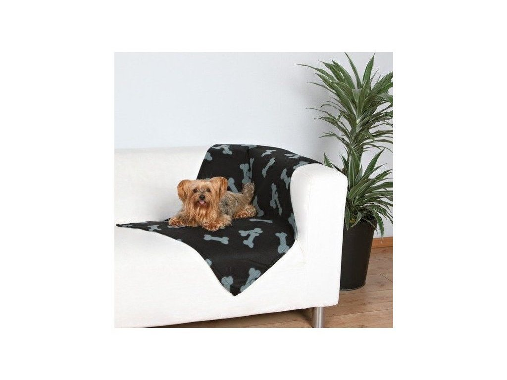 Trixie Deka pro psy BEANY černá a šedé kosti 100x70cm