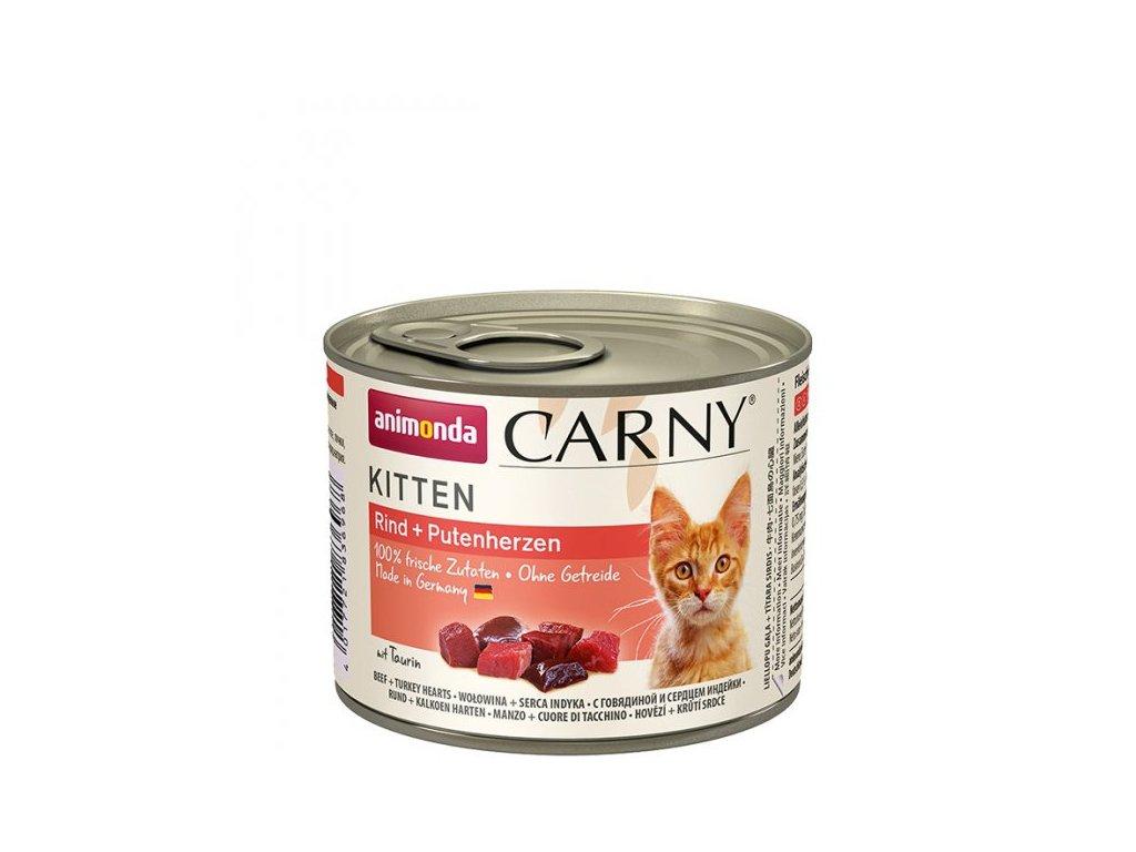 Animonda Carny Kitten - hovězí a krůtí srdce 6 x 200g