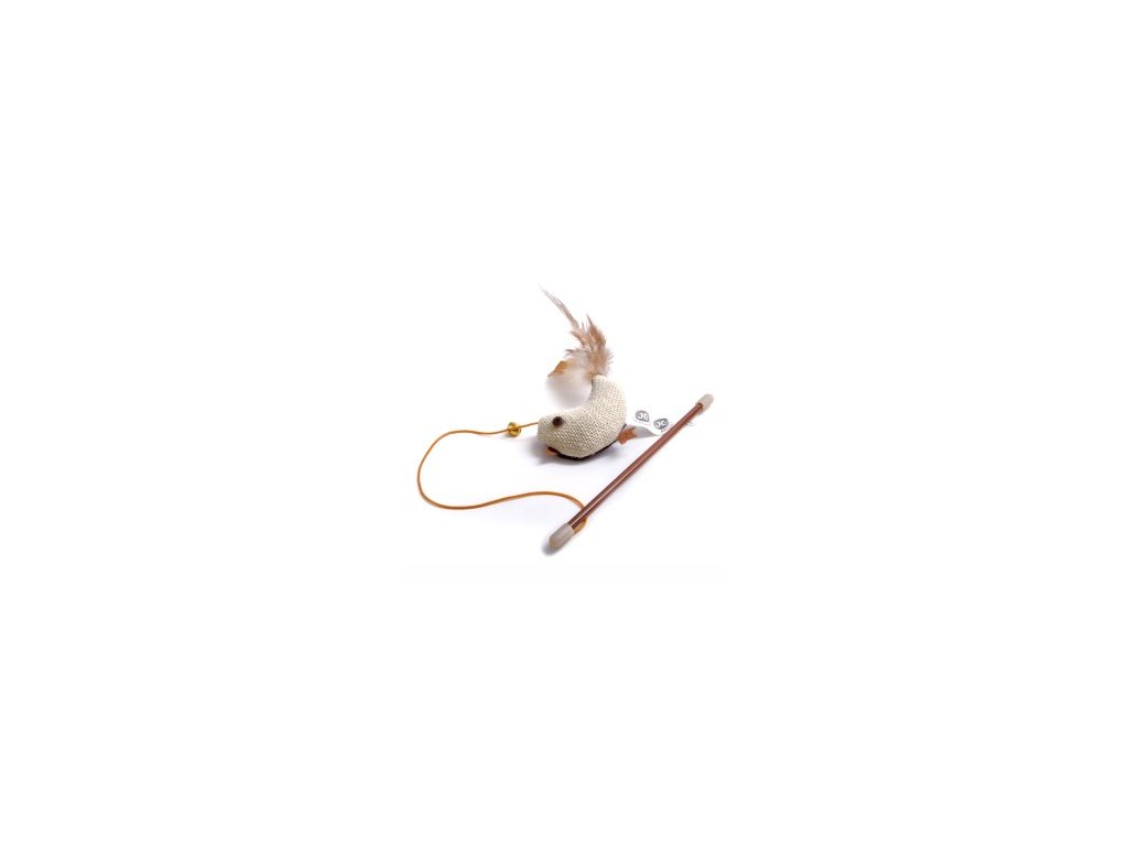 Hračka kočka Ptáček na prutě s catnipem (šantou)