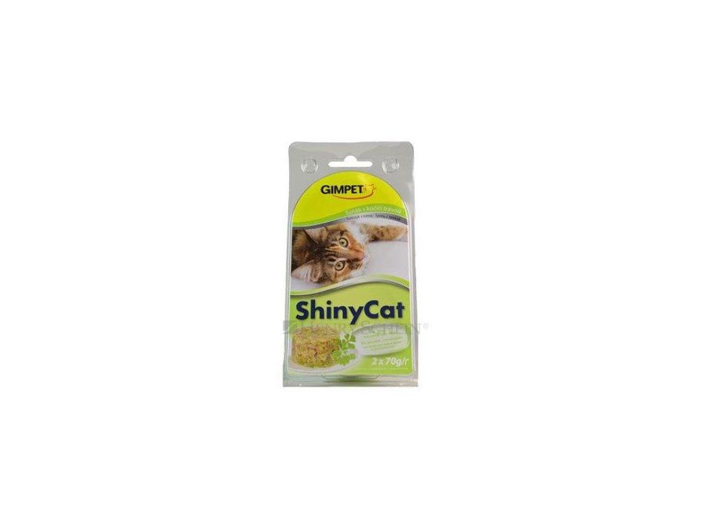 Gimpet Shiny Cat tuňak/kočičí tráva 2x70g
