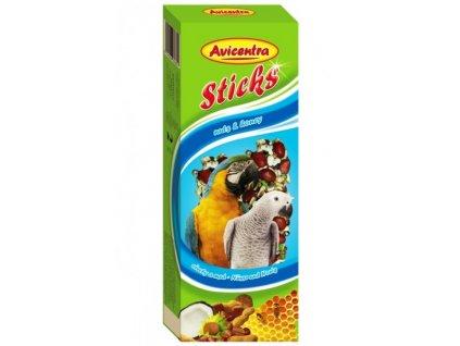 Avicentra tyčinky pro velké papoušky ořech+kokos 2ks