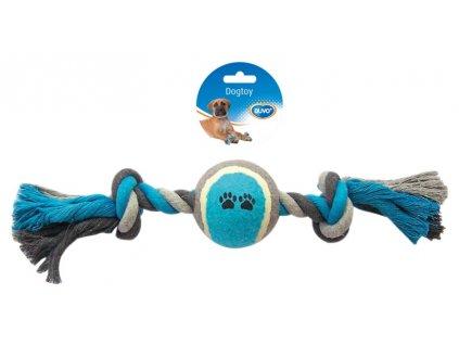 Hračka bavl. Uzel modrý + tenis DUVO+ 40 cm