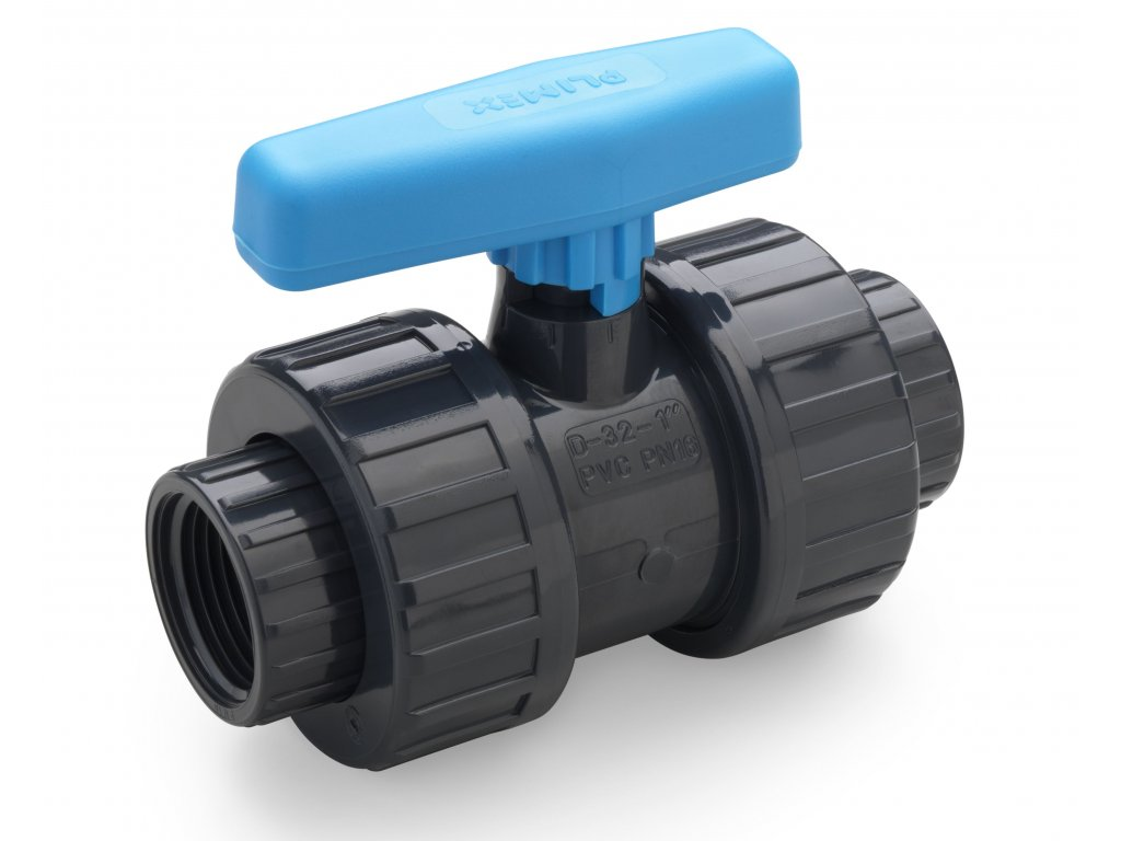 2-cestný guľový ventil PVC Plimat