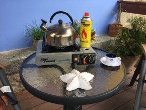 Vařič turistický Alpen camping stříbrný 2v1 s přípojkou na PB láhev