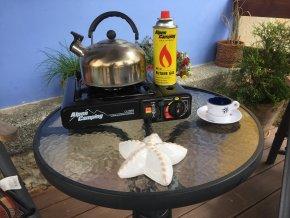 Vařič turistický Alpen camping černý 2v1 s přípojkou na PB láhev