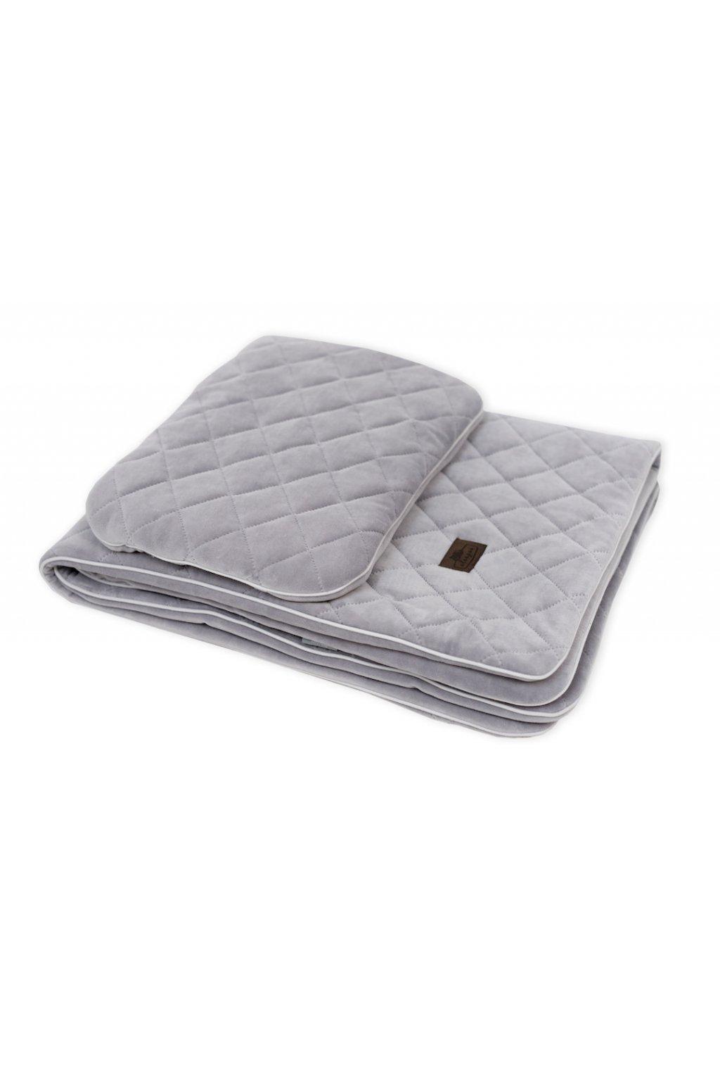 Sleepee Royal Baby Set šedý - sametová deka + polštářek