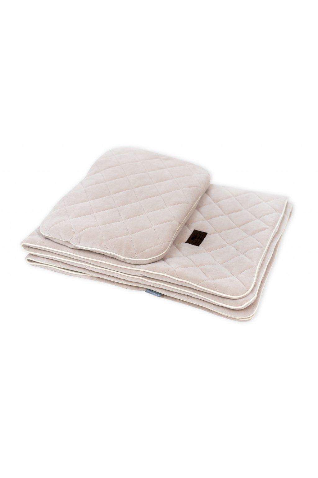 Sleepee Royal Baby Set pískový - sametová deka + polštářek