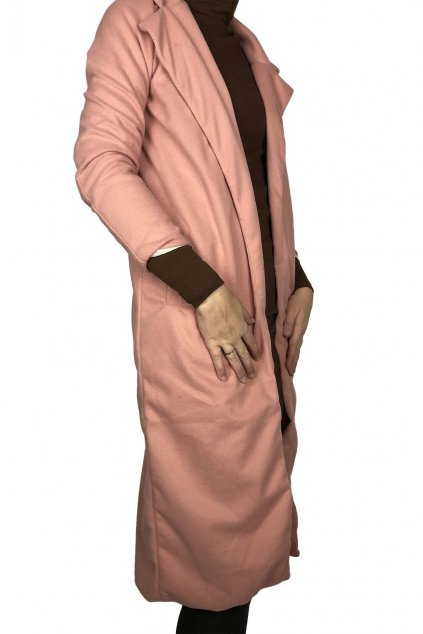 nahled stylovy damsky kabat v ruzove barve