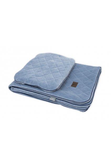 Sleepee Royal Baby Set modrý - sametová deka + polštářek