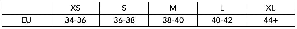 Velikostní tabulka Off the Pole - kraťasy