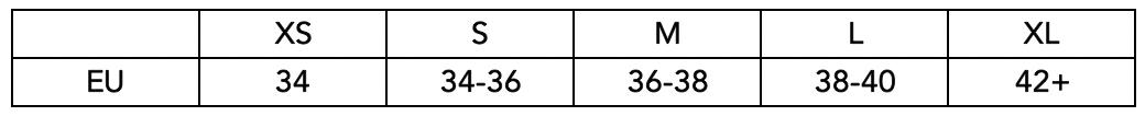 Velikostní tabulka Off the Pole - topy