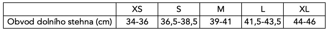 Velikostní tabulka Poledancerka - chrániče