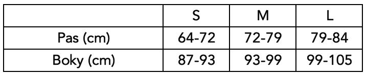 Velikostní tabulka Poledancerka - kraťasy