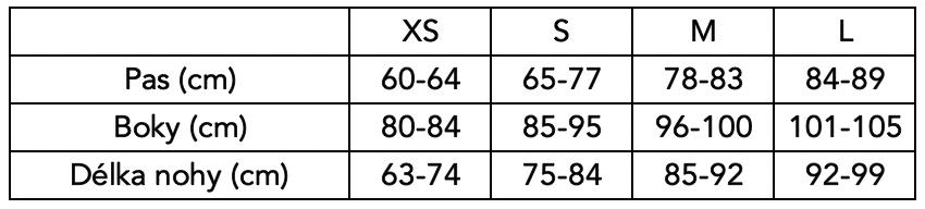 Velikostní tabulka Poledancerka - Legíny