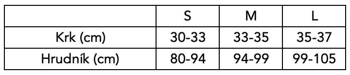 Velikostní tabulka Poledancerka - topy