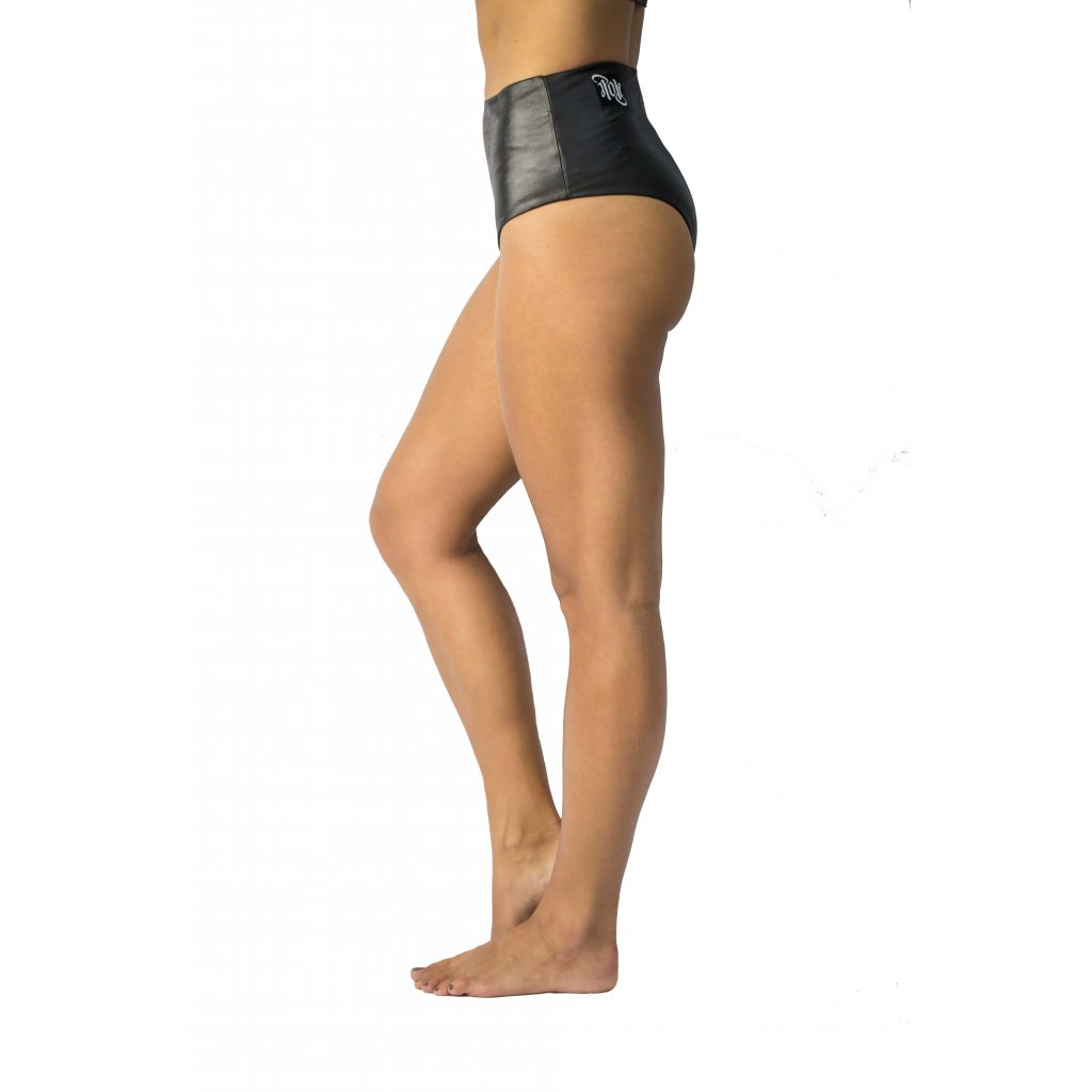 High Waisted Pole Shorts, Shiny Black
