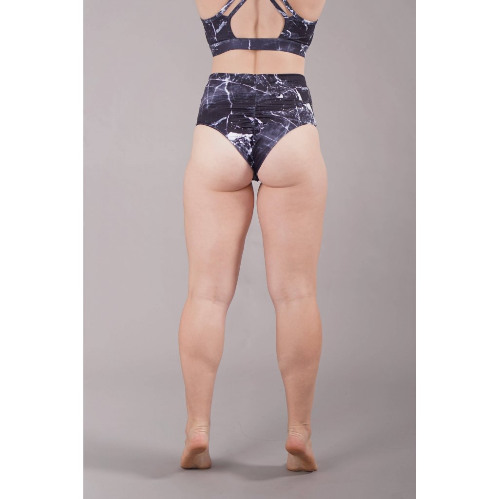 High Waisted Scrunch Shorts, Black Marble