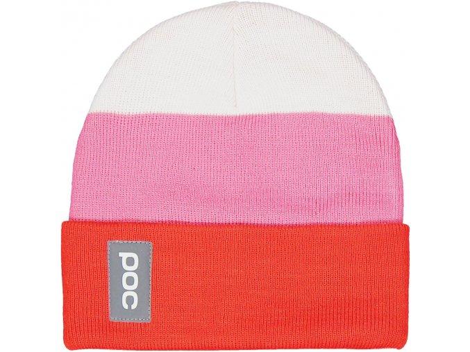POC Stripe Beanie - Hydrogen White/Prismane Red/Actinium Pink