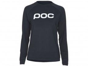 47252 3 cyklisticky dres poc essential mtb women s ls jersey uranium black 01