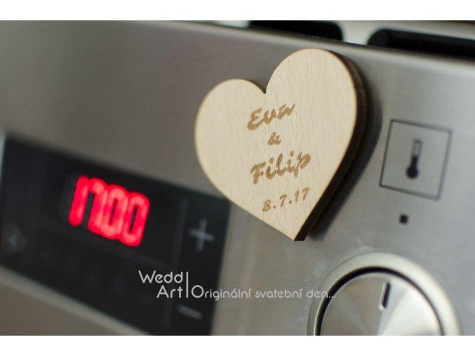 magnetka svatba srdce jmena 1
