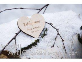 magnetka svatba srdce dekujeme
