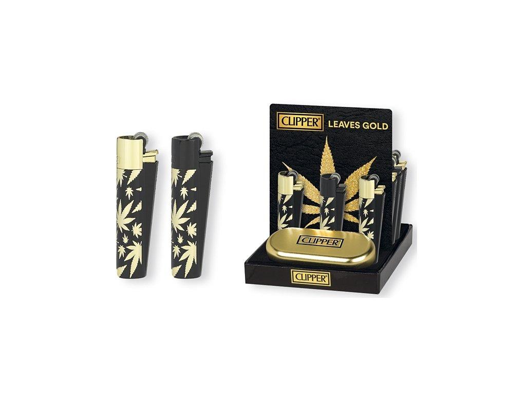 darkovy clipper zapalovac zlaty listy konopi