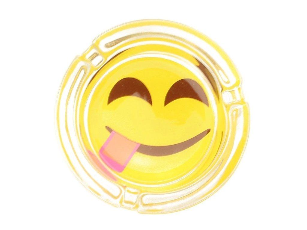 skleneny popelnik smajlik emoji jazyk