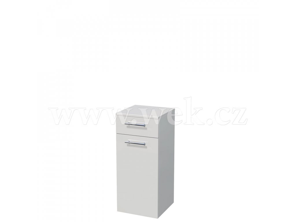 UNI SN 82/35 1Z 1D P   Nízká závěsná skříňka, 1x dvířka, 1x skleněná police, 1x zásuvka, pravá (šířka 35 cm x výška 82 cm)
