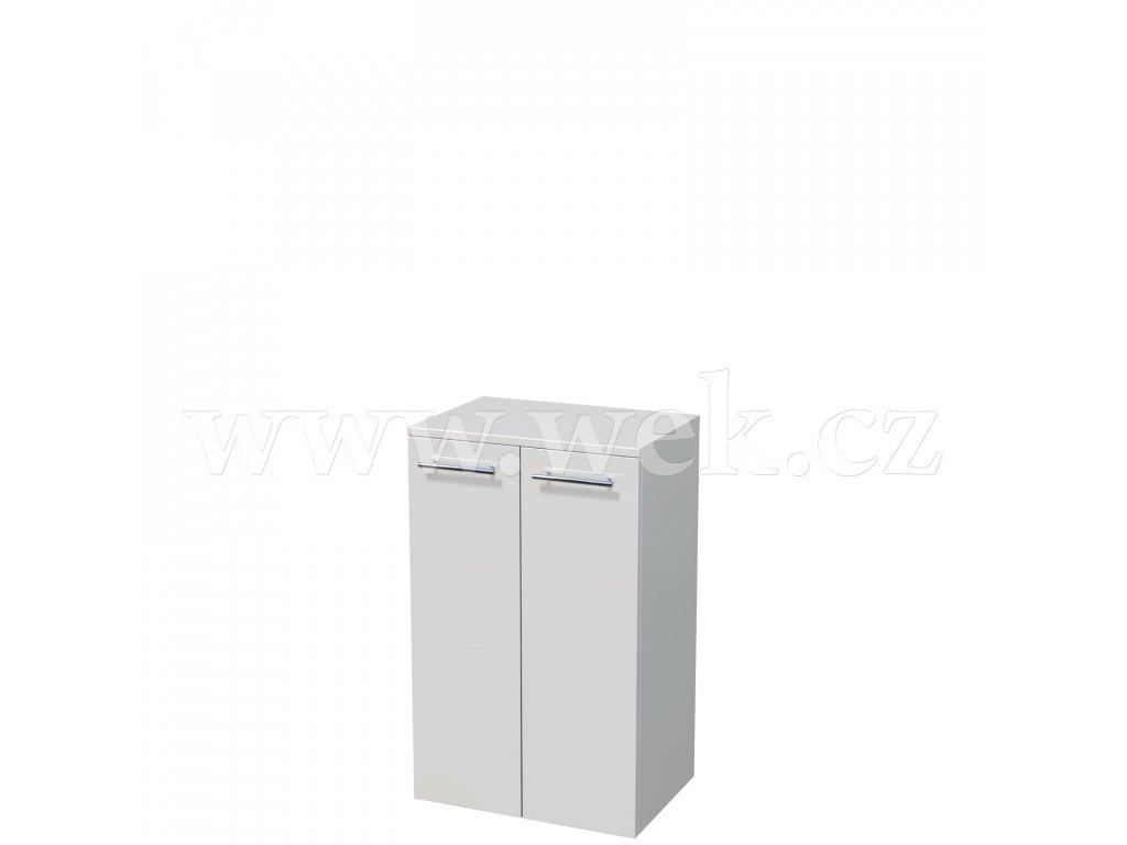 UNI SN 82/50 2D | Nízká závěsná skříňka, 2x dvířka, 2x skleněná police (šířka 50 cm x výška 82 cm)