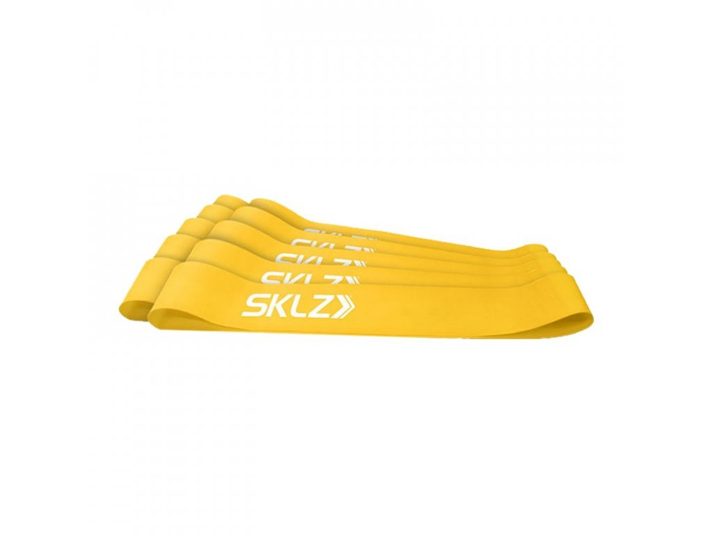 SKLZ MINI BANDS - YELLOW, posilovací smyčka žlutá (slabá), 10 ks