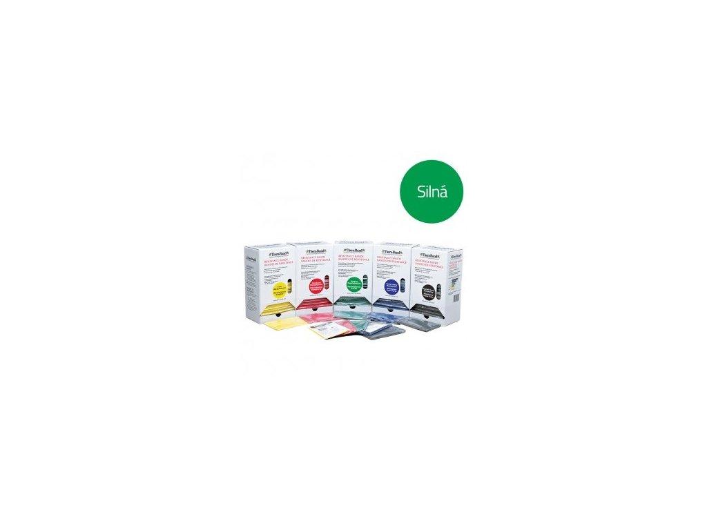 THERA-BAND posilovací guma, prodejní display 15x1,5 m, zelená, silná