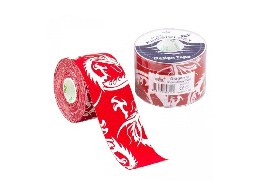 NASARA Kinesiology Tape Dragon, kineziologická tejpovacia páska, červená, 5cm x 5m