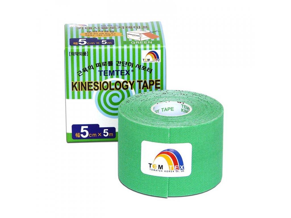 TEMTEX kinesio tape Classic, zelená tejpovacia páska 5cm x 5m