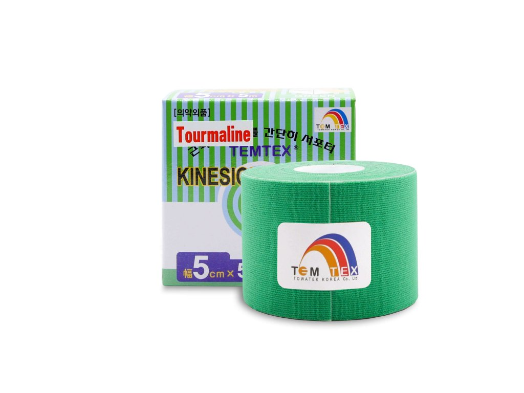 TEMTEX kinesio tape Tourmaline, zelená tejpovacia páska 5cm x 5m