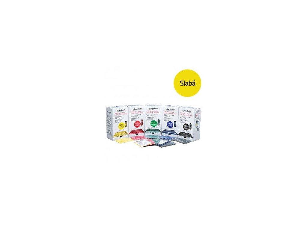 THERA-BAND posilňovacia guma, predajný display 15x1,5 m, žltá, slabá