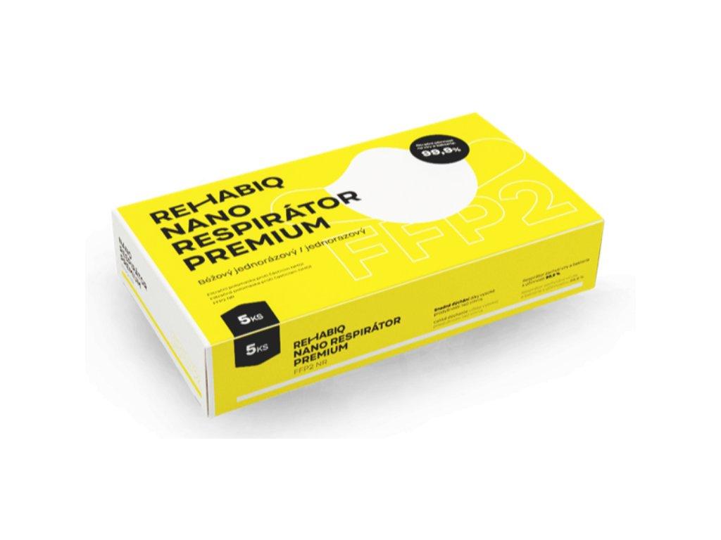 České nano respirátory Rehabiq Premium FFP2 s účinnosťou 12 hodín, 5 ks