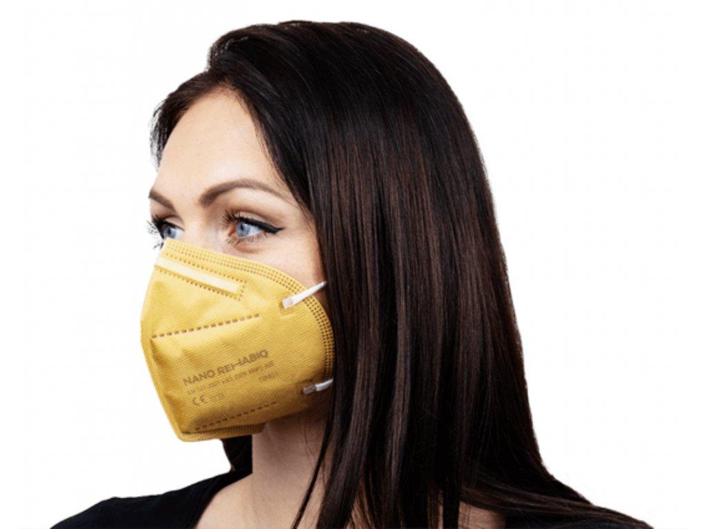 Český nano respirátor Rehabiq Premium FFP2 s účinnosťou 12 hodín, 1 ks