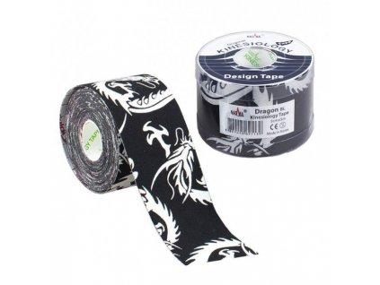 NASARA Kinesiology Tape Dragon, kineziologická tejpovacia páska, čierna, 5cm x 5m