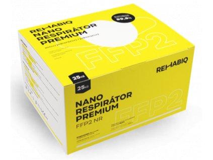 České nano respirátory Rehabiq Premium FFP2 s účinnosťou 12 hodín, 25 ks