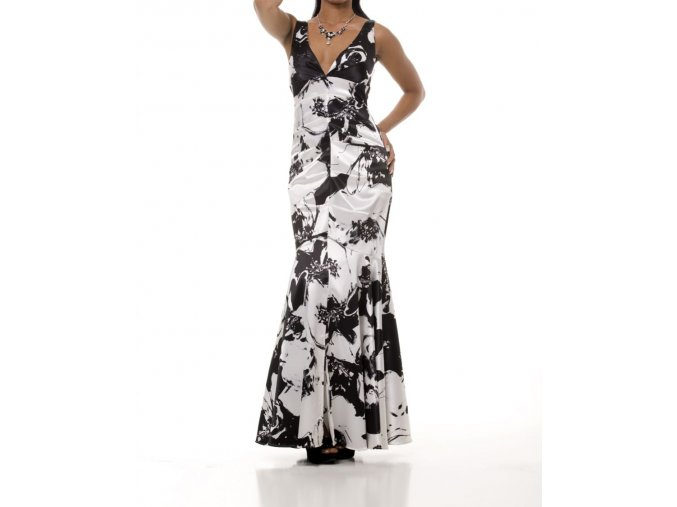 JUMP dámské dlouhé černobílé plesové šaty