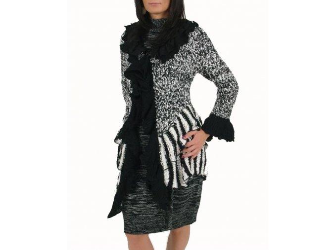 FASHION BLVD dámský svetr s volány černobílý