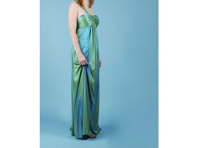 JUMP dámské dlouhé modrozelené plesové šaty