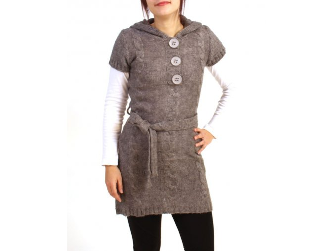 GRIFFLIN Paris dámské šaty/svetr pletené šedé s kapucí a knoflíky