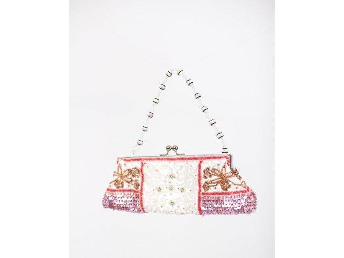 IN'S dámská večerní kabelka bílá s výšivkou z červených a bílých korálků