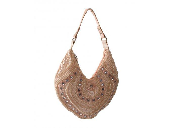 IN'S dámská kabelka oranžová s výšivkou a korálkami